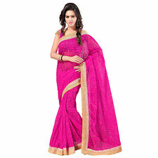 Indian Party Wear Pink Net Brasso Plain Saree With Blouse