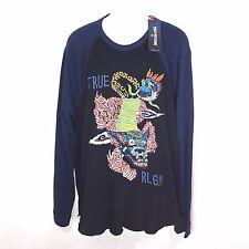 New True Religion Foo Dog Raglan Shirt Size XXL Black/Blue Buddha Horseshoe $109