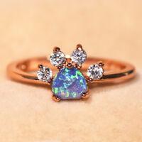 Heart Cut Blue Fire Opal Ring Rose Gold Cute Dog Paw Footprint Wedding Band Gift