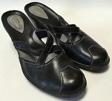 Clarks Artisan Collection Black Leather Criss Cross Mules Heels Size 7 1/2 M