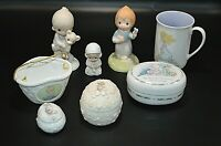 Mixed Lot of 8 Precious Moments Figures/Mug/Trinket Boxes/Basket/Holder Sayings