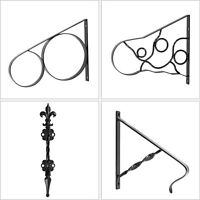 "Handrails for Outdoor Step Wrought Iron Handrail 20"" Length Porch Deck Railing"