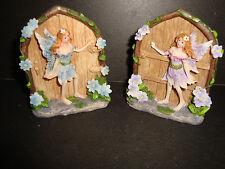 Pair of Delicate Small  Resin Fantasy Fairy Doors Figures~B~uk seller