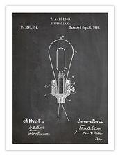 "EDISON LIGHT BULB POSTER BLACKBOARD 1882 THOMAS ELECTRIC LAMP PRINT 18x24"" GIFT"