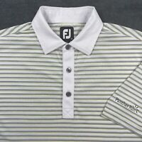 Footjoy FJ White Stripe SS Polo Golf Shirt Men's Size M Medium Embroidery On Slv