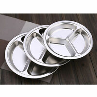 Dinner plate Silver Stainless Steel 3 Sections Round Divided Dish Snack 2018