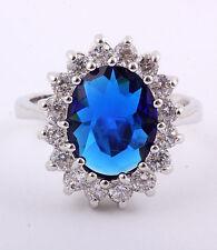 18kwgp Kate Style Oval Sapphire Engagement Ring Sz 8 in Velvet Box