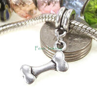 Dog Bone Dangle Silver Tone Large Hole Slider Bead for European Charm Bracelet