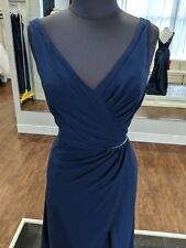Navy Chiffon Dress With Straps And Thin Sparkle Belt Size 14