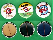 "1969 Style Rainier Beer Seattle Pilots Baseball 1-3/4"" Lot (3) Rp Pins"