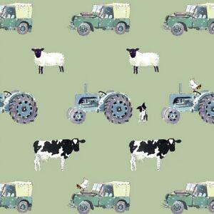 Sophie Allport - On The Farm - Green - Fabric - 45cm x 140cm - Face Masks