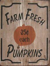 """TIN SIGN """"Farm Fresh Pumpkins"""" Farm Art Deco Garage Wall Decor"""