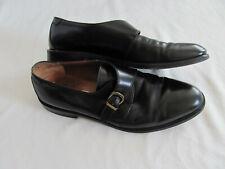 Salvatore Ferragamo Studio-Slip on Monk Strap-Black Leather-Men's Size 11D