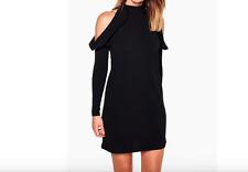 Ladies New High Neck Frill Detail Open Shoulder Shift Dress In Black Size 12 UK
