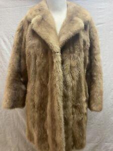 Beige MINK Fur Coat Blonde Real Mink Fur 60's Real Vintage Women's Medium