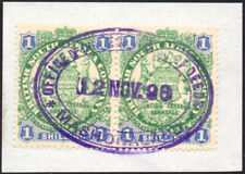 Rhodesia 1896-7 1s green & blue pair, SG.35 fiscally used on piece