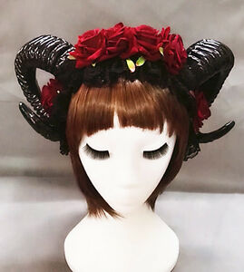 Restyle Sheep Horn Rose Flower Headband Gothic Veil Lace Retro Hair Accessories
