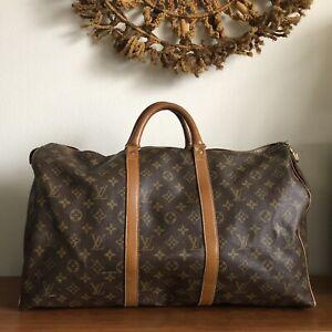 Vintage 70s Louis Vuitton French Company Monogram Keepall 50 Duffle Bag