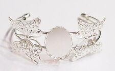 8 of 25x18 mm Silver Butterfly Vintage Art Nouveau Cuff Bracelets Settings, Nice