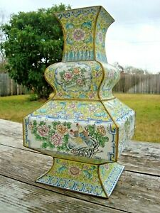 """Old Chinese Hand painted Enamel on Copper Vase  15"""" Tall Villages Flowers Birds"""