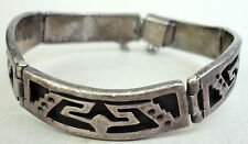 Bracelet 1940s Sterling Silver 925 Eagle 3 CET Panel Links Taxco Mexico 35gr Vtg