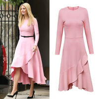 Pastel Pink Asymmetric Hi-lo Ruffle Midi Dress Sleeve Fit Flare Ivanka Trump