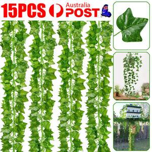 15Pcs 2M Artificial Ivy Vine Fake Foliage Hanging Leaf Garland Plant Party Decor