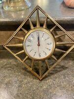 "Vintage Mid Century Modern United Starburst Electric Wall Clock Sunburst 15"""