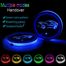 2X LED Car Cup Holder Pad Mat Fit for AUDI Honda Auto Atmosphere Lights Colorful