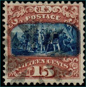 US #119 1869 15c Pictorials, Columbus 'G' Grill Type II. Used KP-041