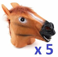 5 PACK x HORSE HEAD FANCY DRESS LATEX ANIMAL MASK HALLOWEEN PARTY MOVIE COSTUME