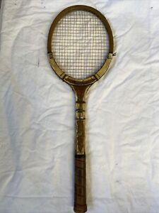 "Antique Vintage Wooden Dunlop Tennis Racquet ""Pastime"" With Original WoodenFrame"