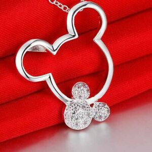 """925 STERLING SILVER 18"""" MICKEY MOUSE PENDANT NECKLACE WITH CZ STONES"""
