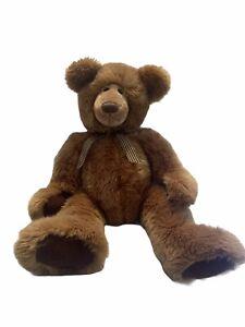 """Russ Teddy Bear Geoffrey Light Brown Fluffy Stuffed BIG 22"""" Brown Checked Ribbon"""