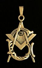 Masonic Vintage Emblem Pendant in Stainless Steel (Antique Gold Plated)-MM5-PAG