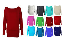 NEW WOMEN'S ONE-OFF SHOULDER BATWING LONG SLEEVE T-SHIRT BAGGY TOP IN ALL SIZES