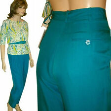 New $180 SILK DRESS PANTS Lined by Ann May - Deep Turquoise 2 4 Pleated Tailored