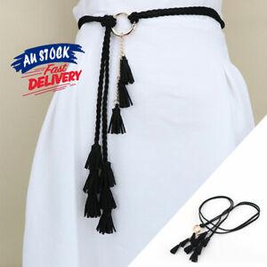 Ladies Braided Belt Women Fashion Belts Tassel Self-Tie Gift Thin Waist Rope