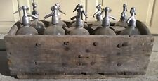 Rare & Vintage Seltzer Soda Bottle Wood Carrying Crate, 10 Glass Seltzer Bottles