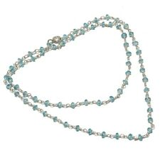 "Aqumaring Natural Beaded Gemstone 925 Sterling Silver Necklace 18"""