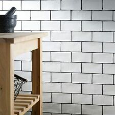 Country white handmade ceramic wall tiles 7.5 x 15cm - 1m²