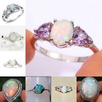 925 Silver Ring Woman White Fire Opal Moon Stone Wedding Engagement Size6-10