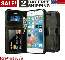 iPhone 6/6S Case Wallet Leather Magnetic Smart Flip Folio Cover Card Slot Black