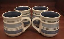 Pfaltzgraff Rio Set of 4 Blue Banded Coffee Mugs