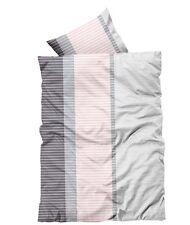 2 tlg Bettwäsche 135x200cm rosa grau gestreift Microfaser Garnitur NEU