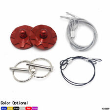 Universal Racing Sport Billet Aluminum Quick Latch Hood Pin Lock Clip Kit Red
