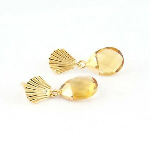 Charm Pear Shape Citrine Quartz Yellow Gold Plated Drop Dangle Gemstone Earrings