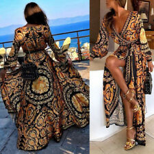 Sexy Women Long Sleeve African Dashiki Print Cocktail Party Maxi Long Dress