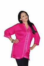 Moroccan Tunic Caftan Shirt Cotton Blouse Swim Suit Cover-up Fuchsia LG To XLG