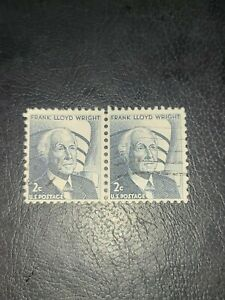Scott# 1280 US Stamp 1966 2c Frank Lloyd Wright Used Great Find Pair - # 3257